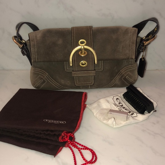 Coach handbag suede and leather